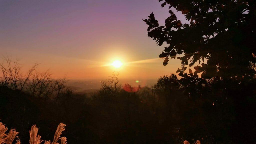 高尾山山頂の日の出画像冬