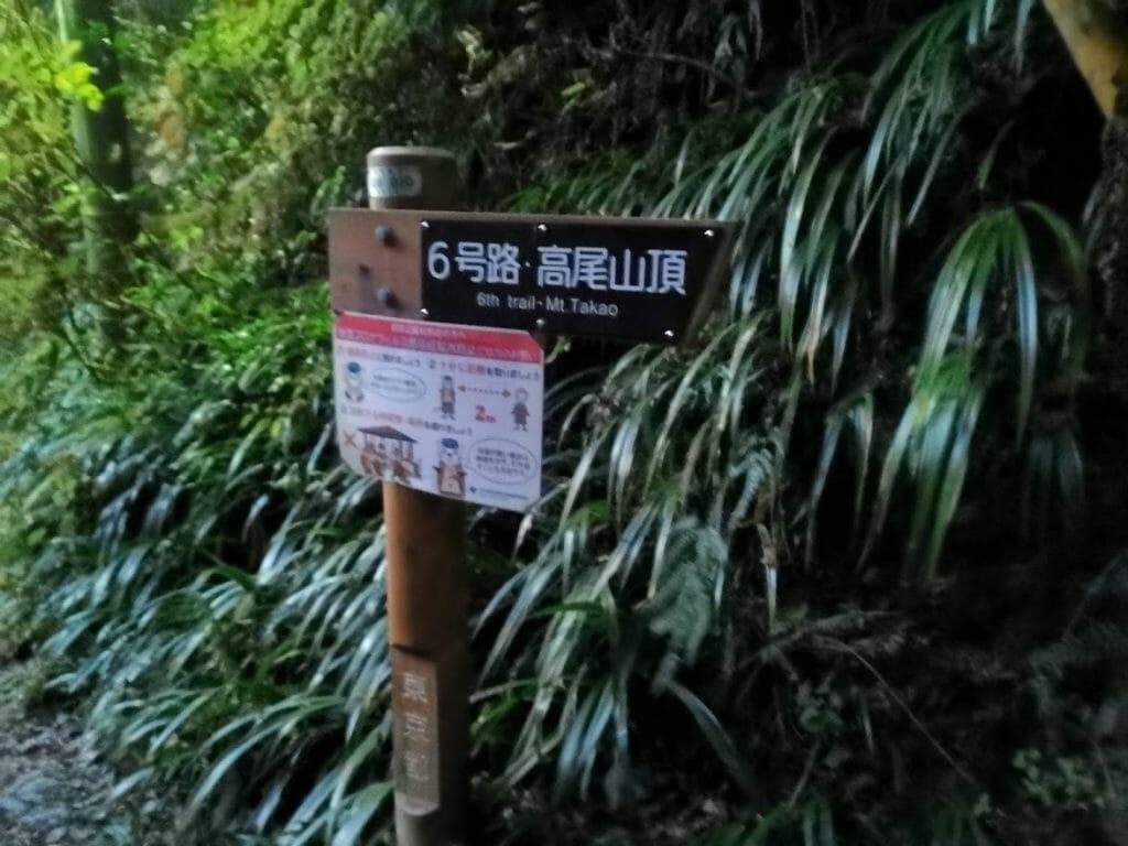 高尾山登山6号路分岐点暗闇で見えない